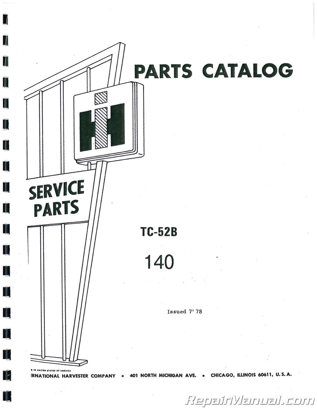 International Harvester 140 Chassis Only Parts Manual