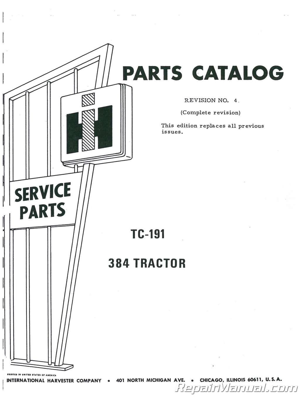 International Harvester 384sel Parts Manual