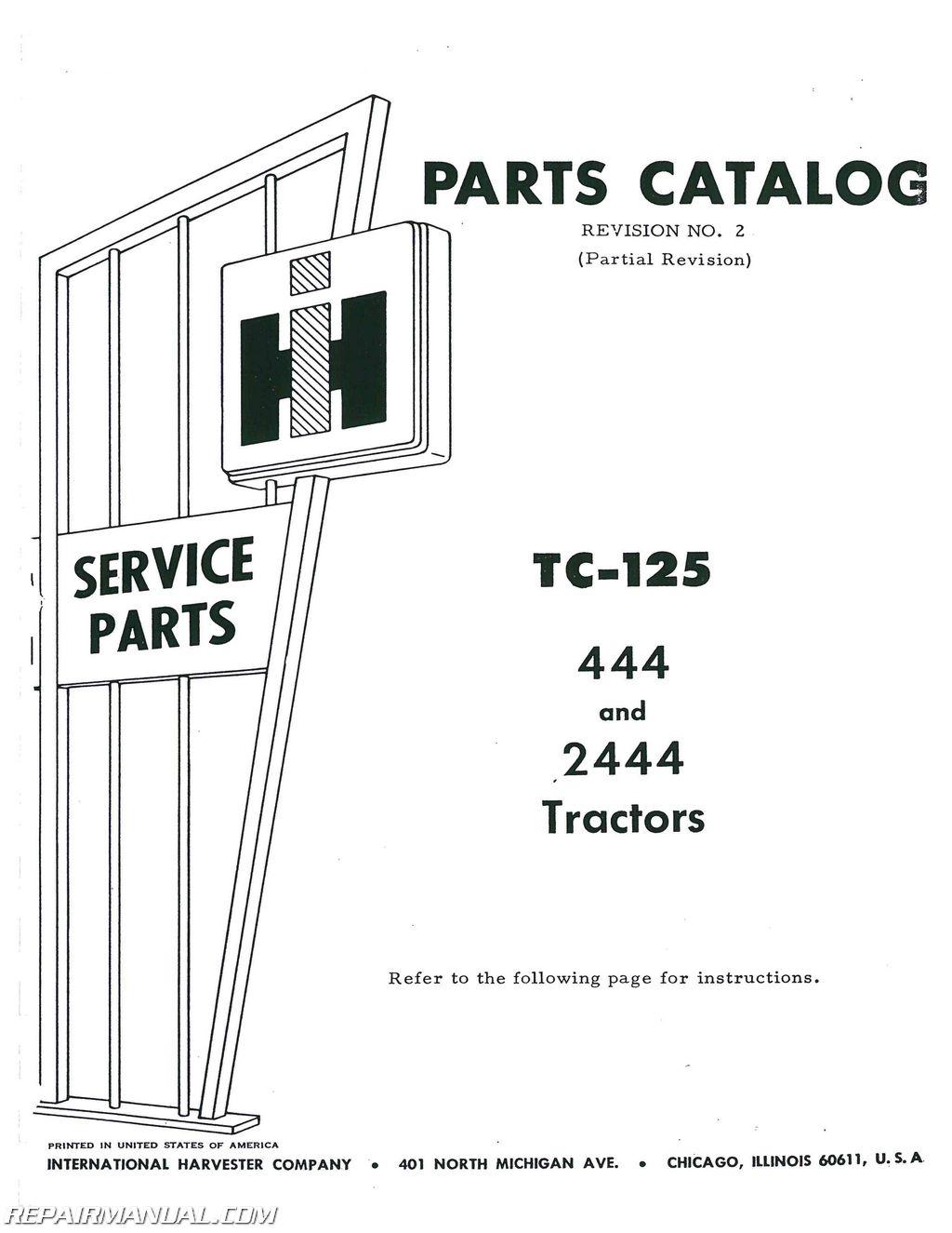 International Harvester 444 Gas Andsel Parts Manual
