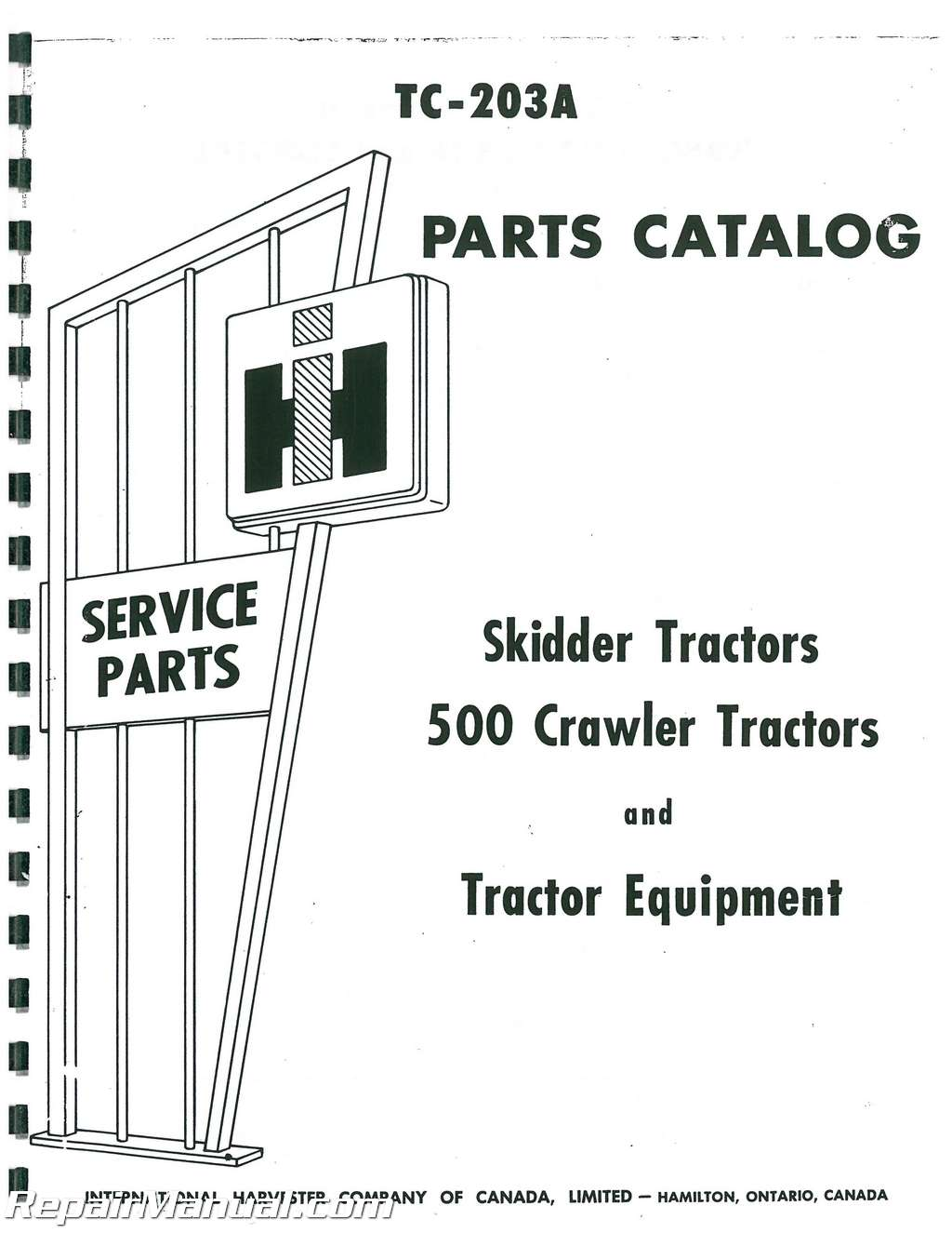 International Harvester 500 Crawler Gassel Parts Manual