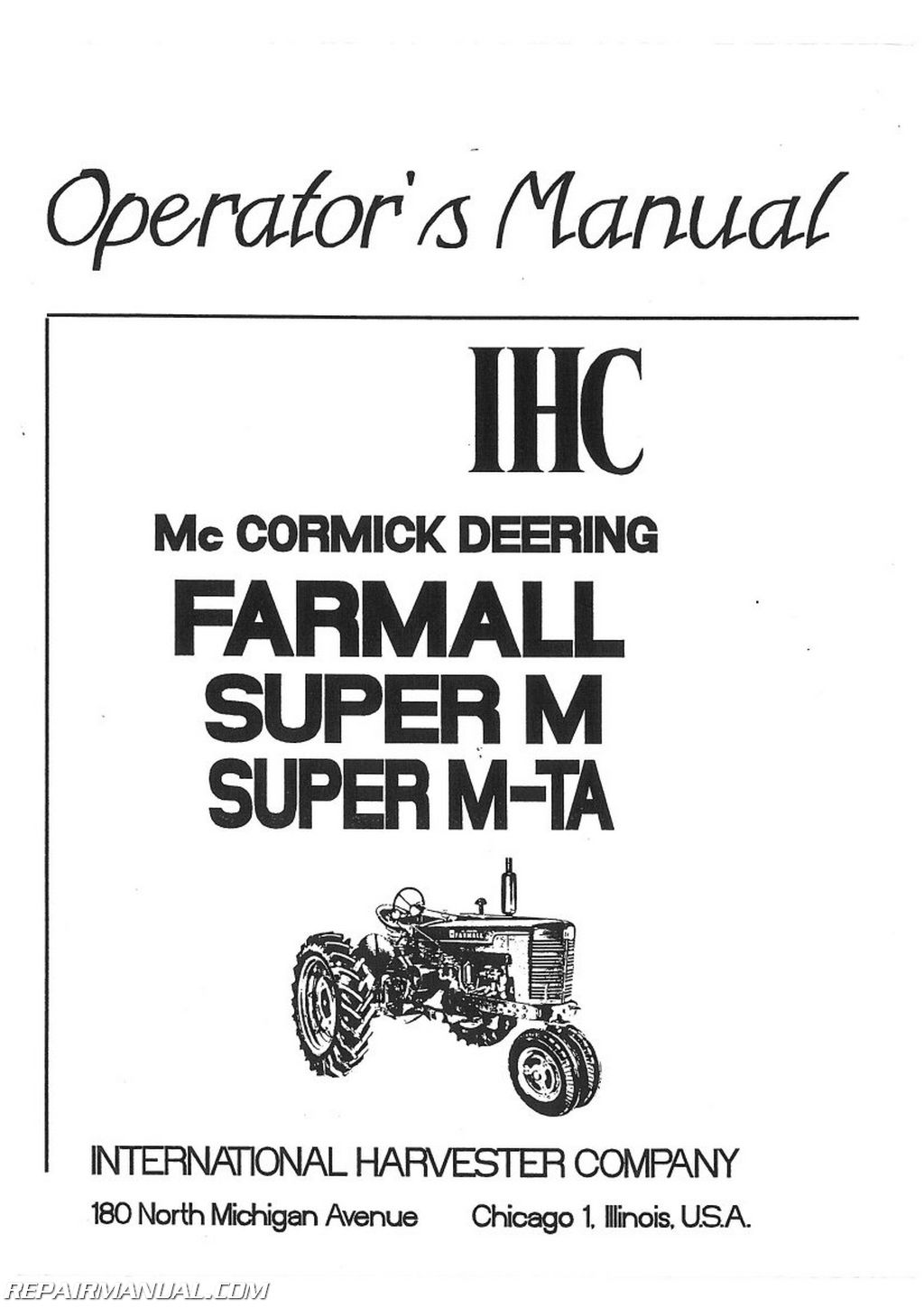 International Harvester Farmall Super Mta Mvta Operators