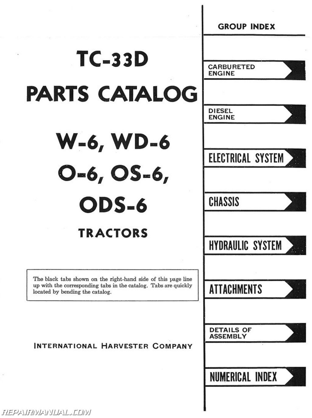 International Harvester O6 Os6 Ods6 W6 And Wd6 Parts