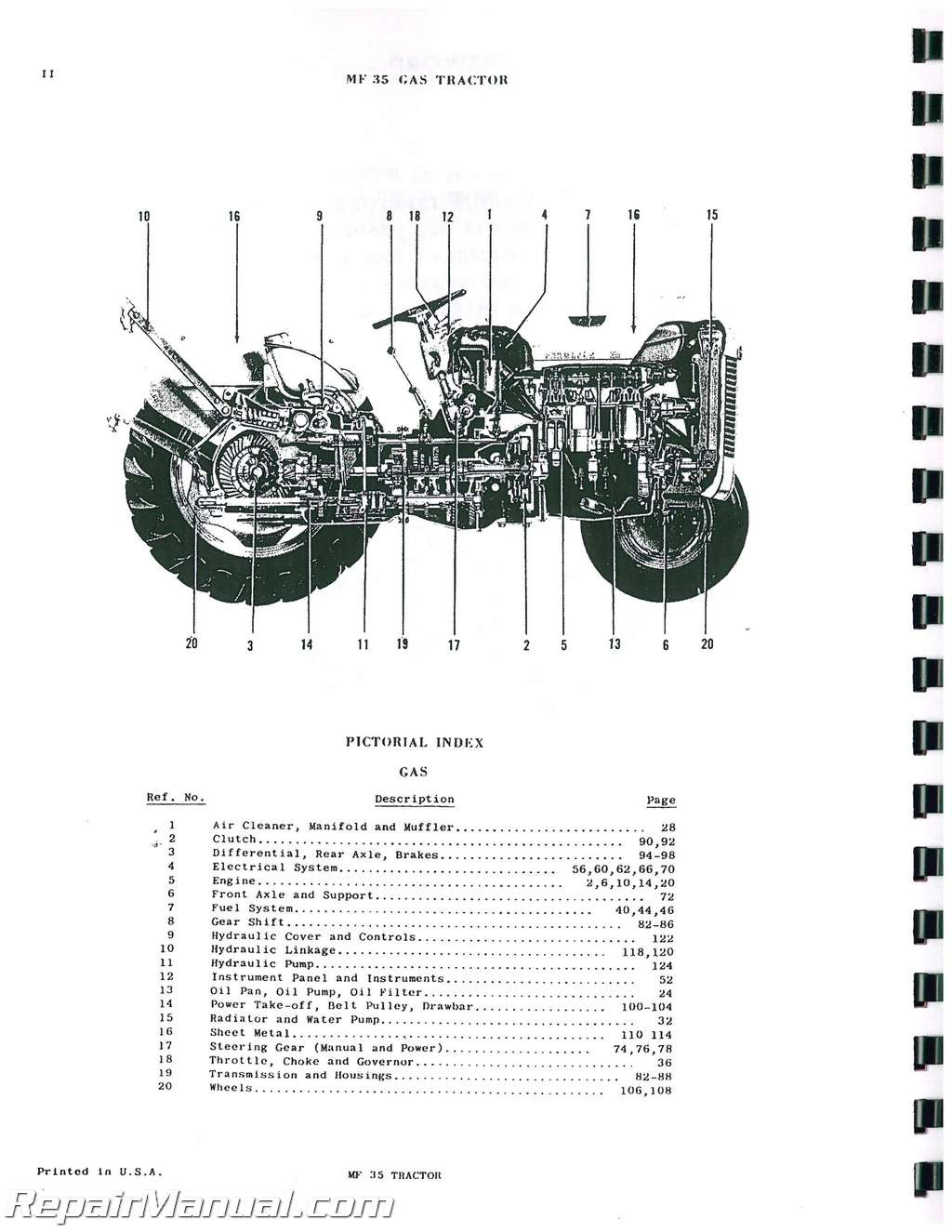Massey Ferguson Mf 35 Gassel Tractor Parts Manual