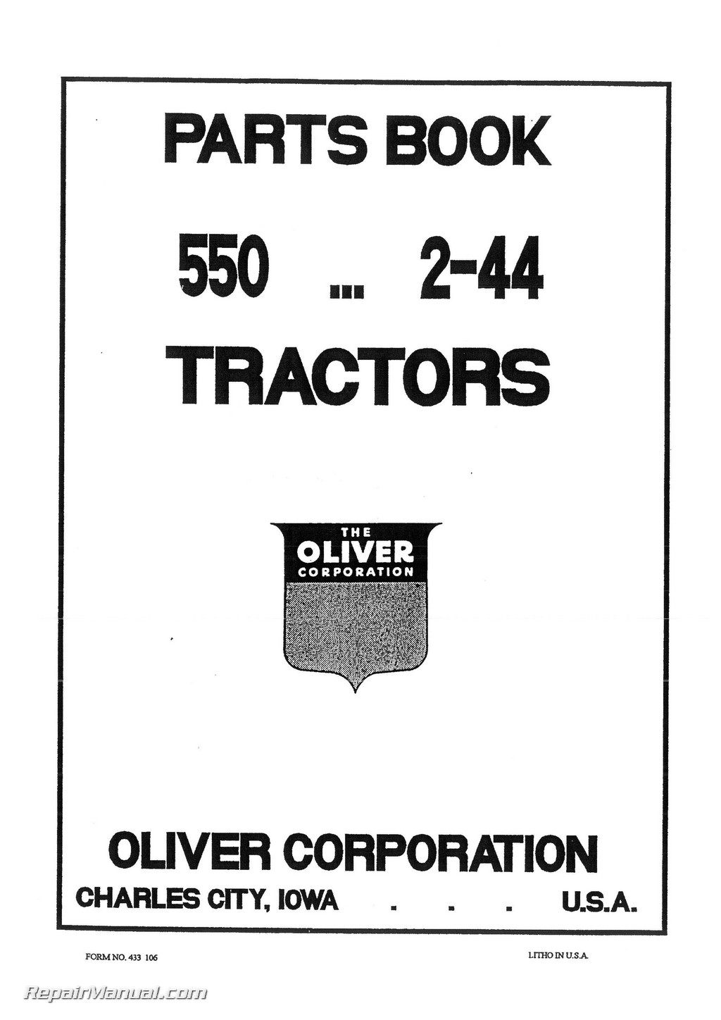 Oliver 550 Tractor Parts Manual