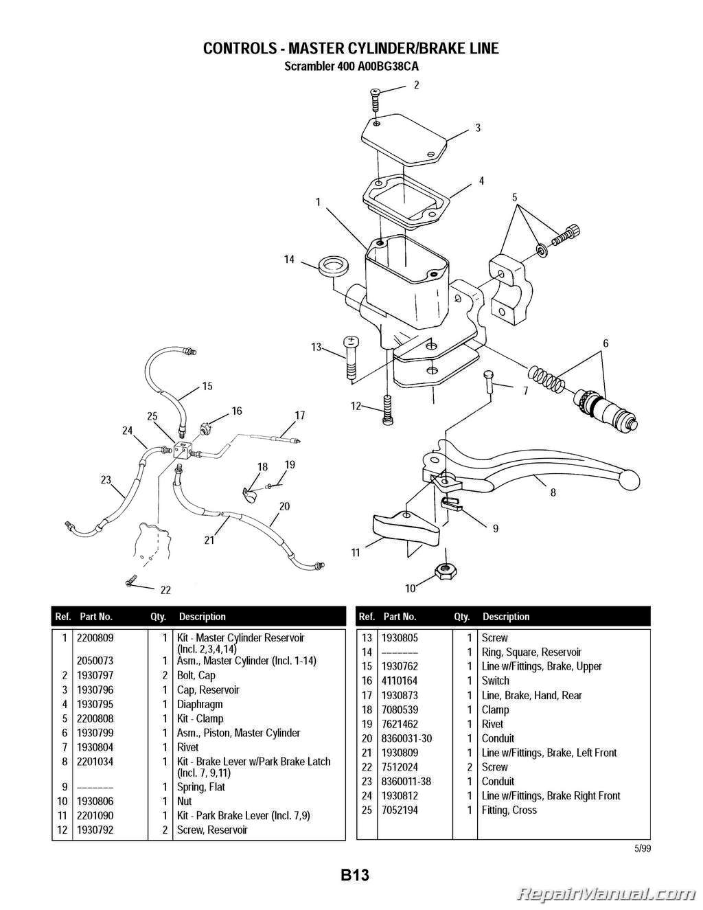 Polaris Scrambler 400 4 4 Atv Parts Manual