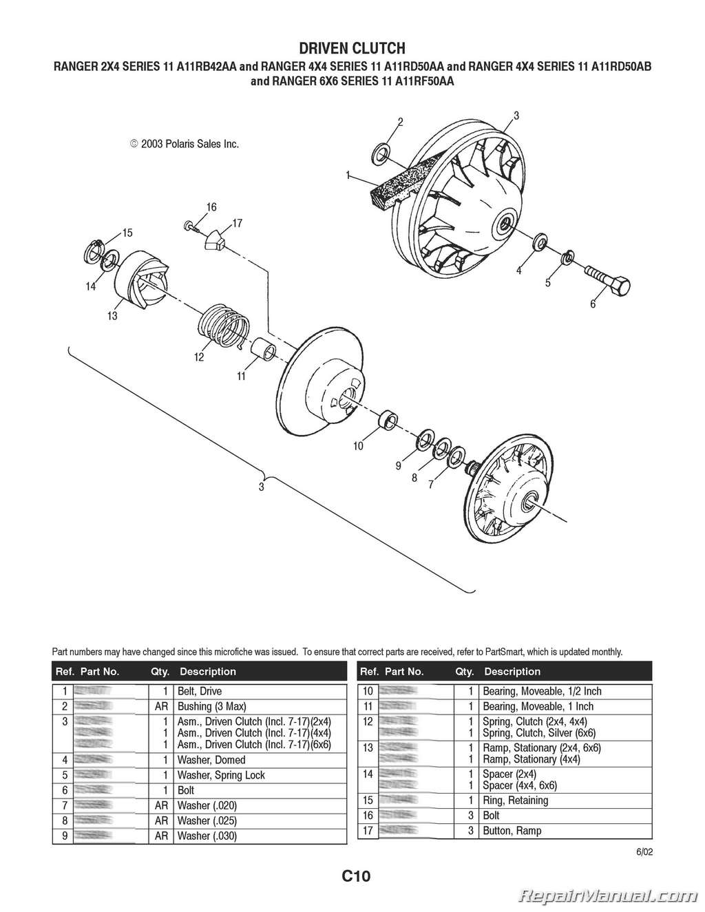 Polaris Ranger 2 4 4 4 6 6 Series 11 Parts Manual