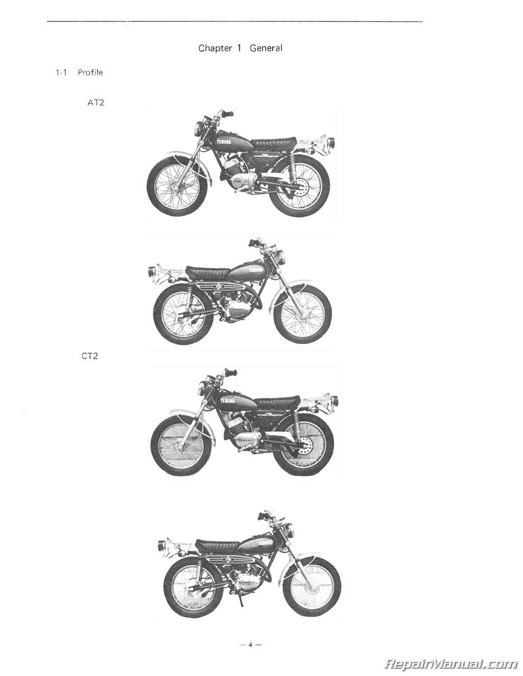 Yamaha 125at2 175ct2 Motorcycle Service Manual