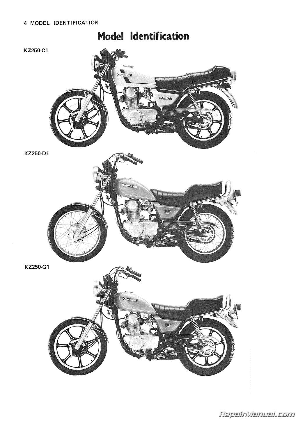 Kawasaki Kz250 Motorcycle Repair Service Manual
