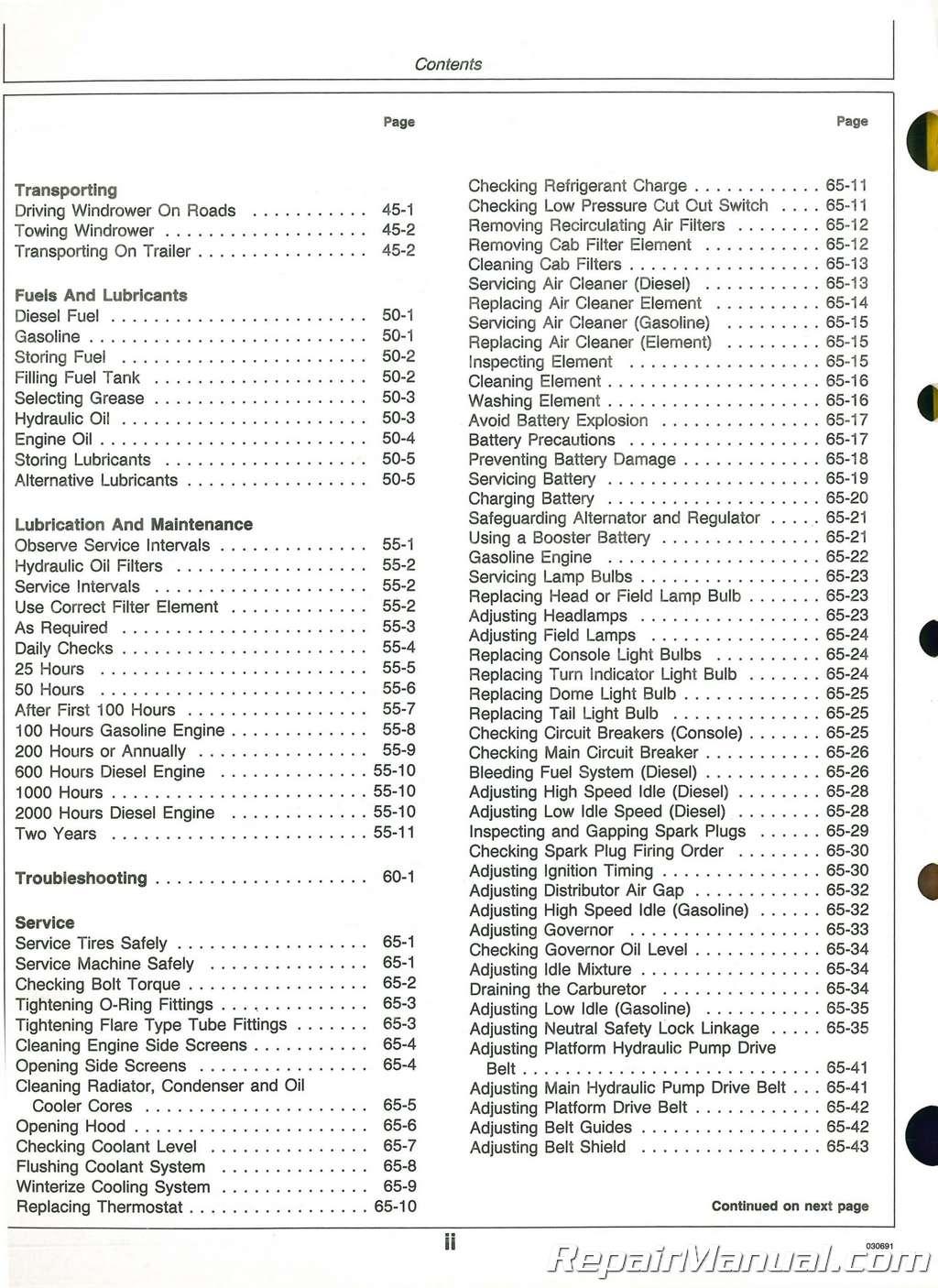 Used John Deere Self Propelled Windrower Operators Manual