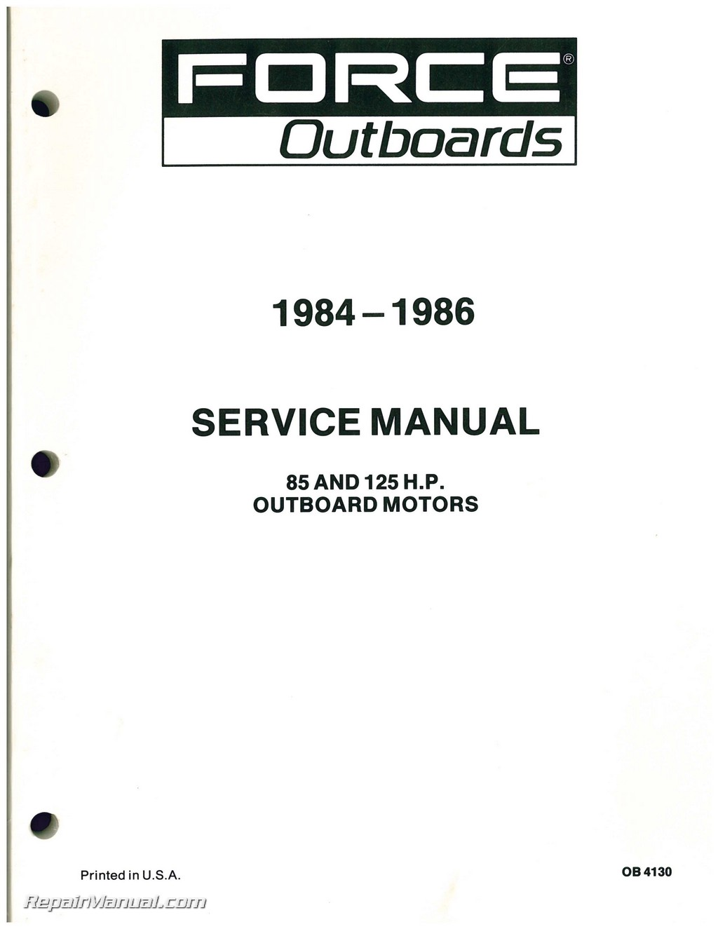Force Outboard Engine 85hp 125hp Service Manual