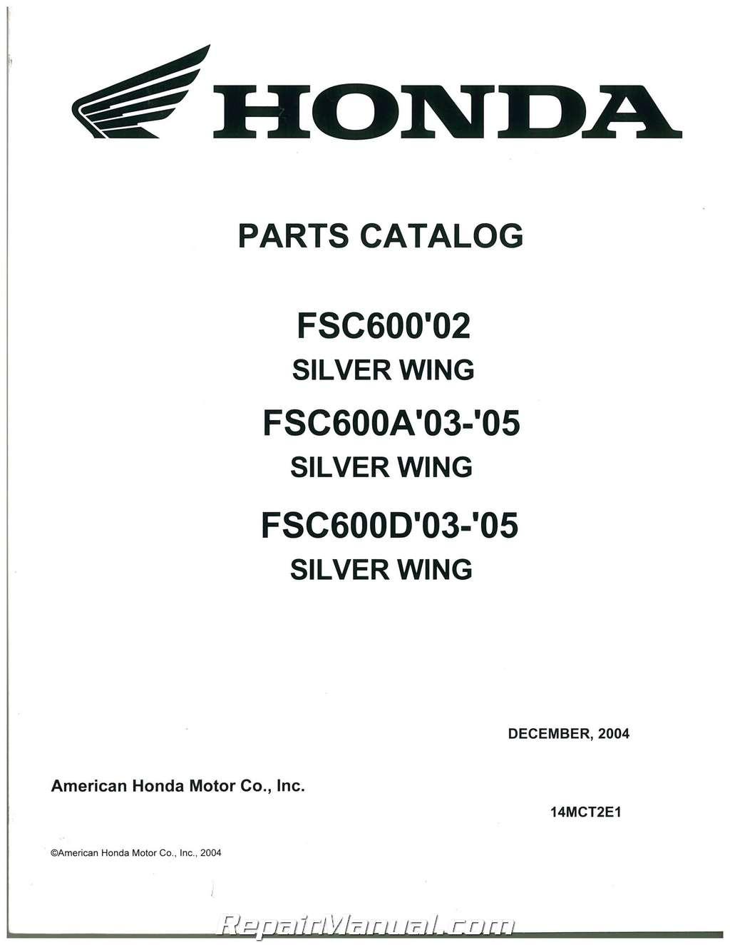 Honda Fsc600 Silver Wing Motorcycle Parts Manual