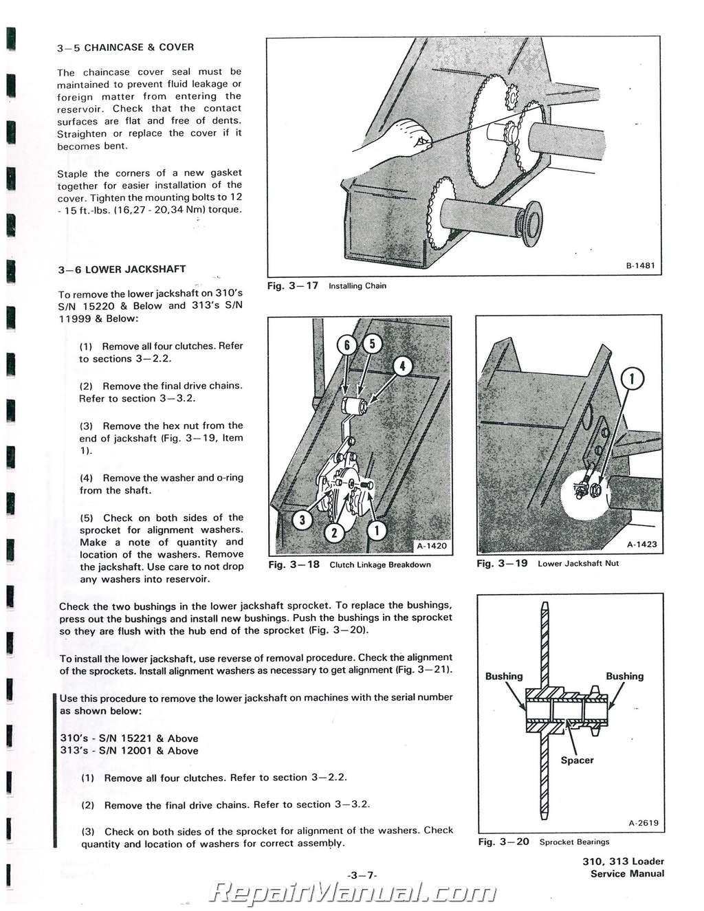 Bobcat 310 313 371 Service Manual