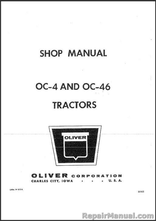 Oliver Oc 4 Oc 46 Crawler Tractor Service Manual