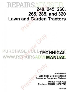 John Deere 240, 245, 260, 265, 285 and 320 Lawn and Garden Tractors Technical Manual TM1426 PDF