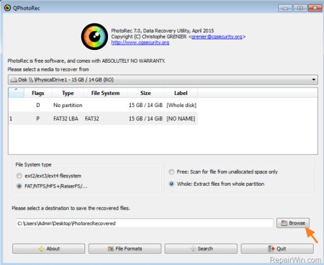 choose destination on your disk