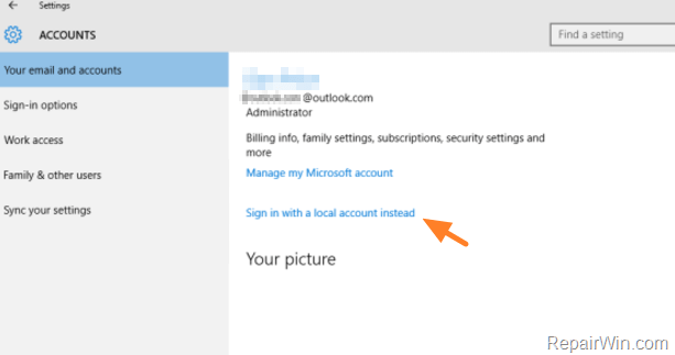 sign-in with a local account instead windows 10
