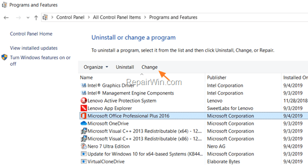 repair office 2016 and office 2019