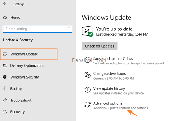 Change Update Options Windows 10