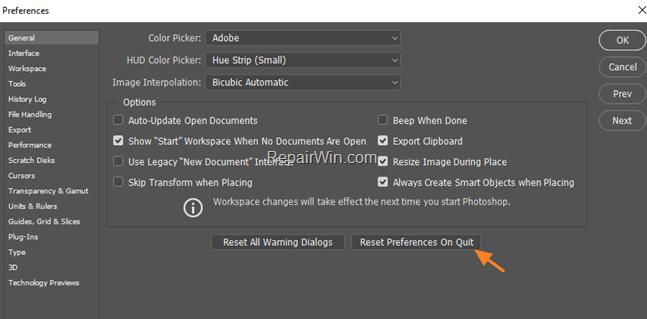 Reset Adobe Photoshop Preferences on Quit