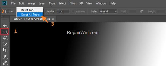 reset tools photoshop