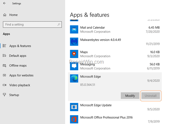 How to Uninstall Edge Chromium version in Windows 10