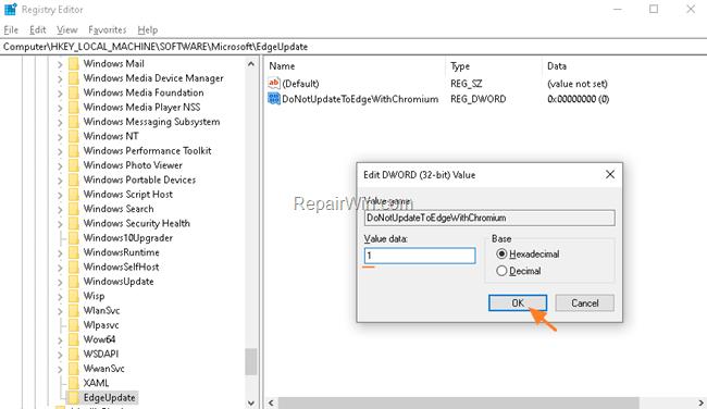 disable chromium egde install - registry