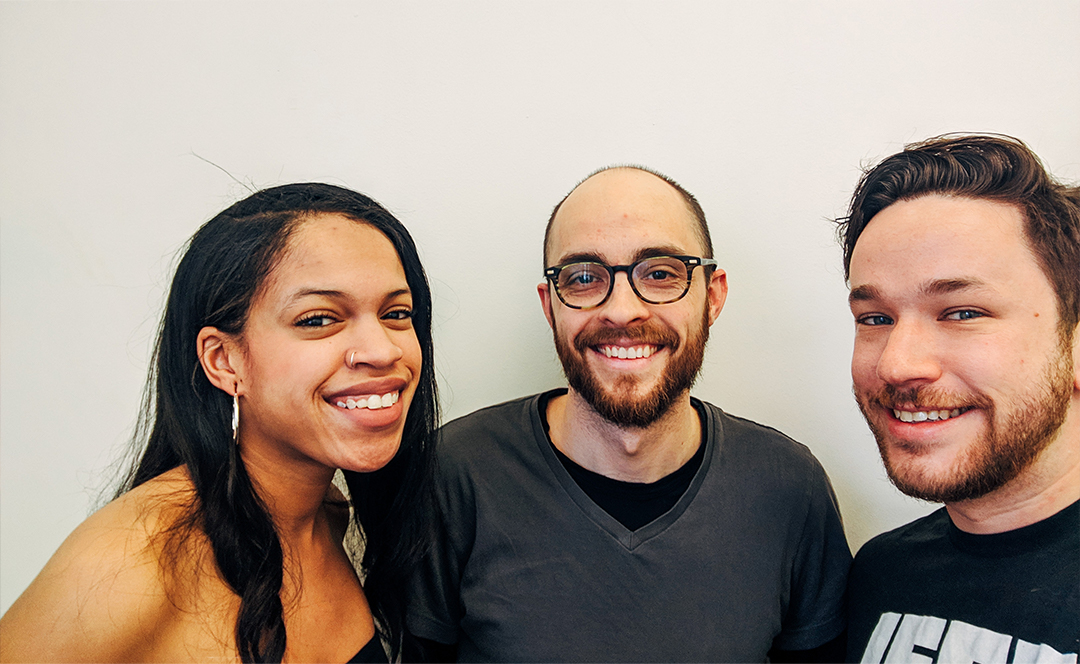 Taylor Garron, Evan Forde Barden, and Patrick Cartelli take a selfie