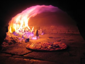 Pizza on firewood oven