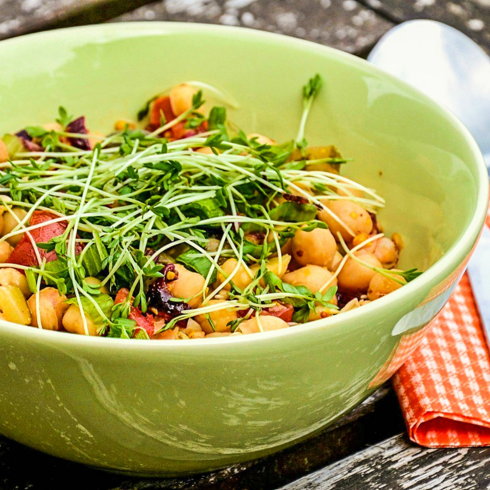 Image of cress and chickpea salad
