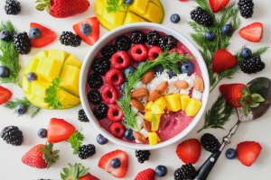 An image of berry mango smoothie bowl