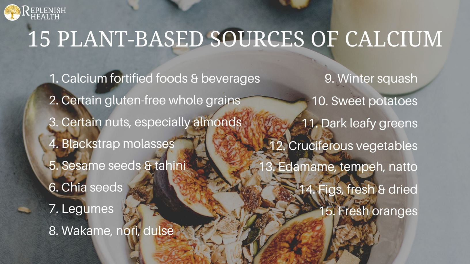 An image of 15 plant-based sources of calcium.