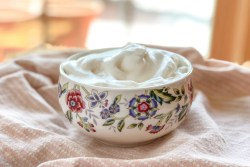 An image of a bowl of aquafaba whipped cream