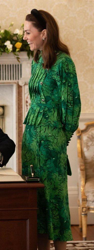 Alessandra Rich green print peplum dress