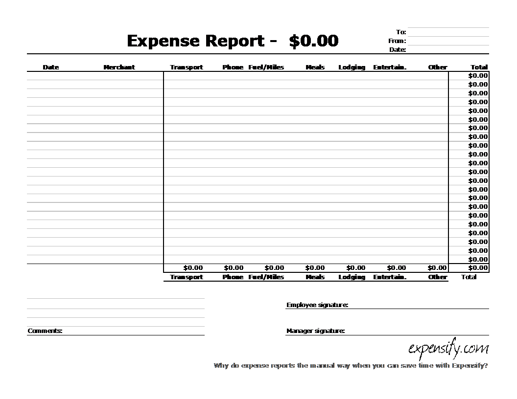 These printable templates are available in a4. Standard Expense Report Template