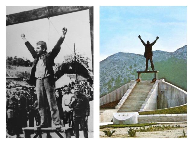 Stjepan Filipoviç në varje dhe monumenti kushtuar atij në Opuzen para se të shkatërrohej. Foto: Wikimedia Commons/Putevima revolucije.