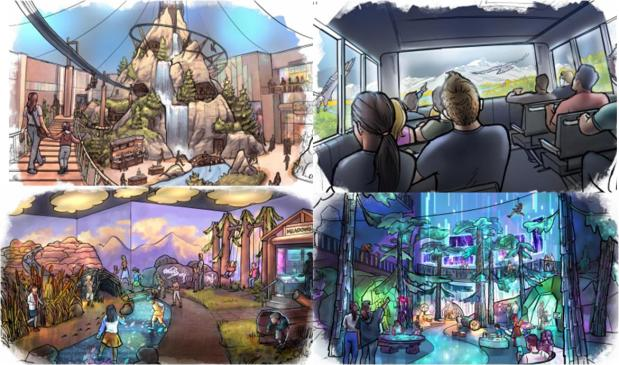 Artists' renderings show concepts for new attractions planned for The Brands at The Ranch, a mega-development slated for Interstate 25 and Crossroads Boulevard. Proposed attractions include 4D and 5D theaters, environmental immersion rooms, a magic meadow for children and a photo safari ride.