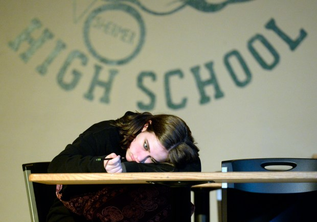 Allison, played by Logan DeBord, rehearses a scene from Harrington Arts Alliance's production of The A.M. Club on Wednesday. (Jenny Sparks/Loveland Reporter-Herald)