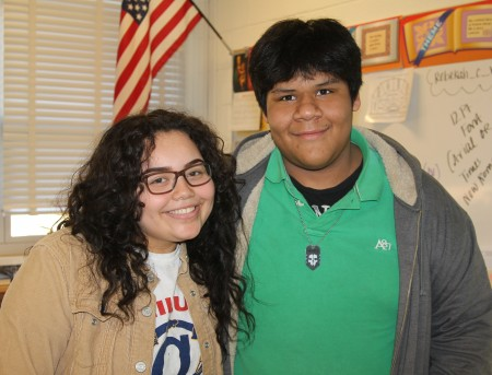 Cross Keys students Lisa Sims (left) and Johnathan Vargas discuss the Buford Highway Project in their classroom. (Photo John Ruch)