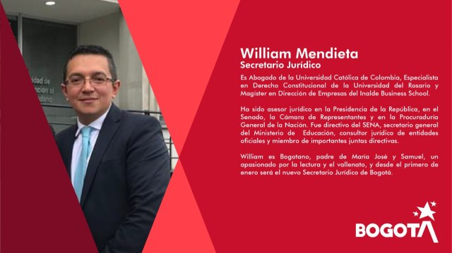 Resultado de imagen para William Mendieta SECRETARIO JURIDICO