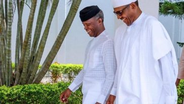 Buhari and Osinbajo walking