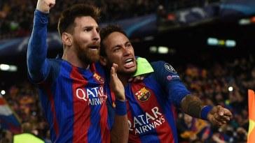 Messi hugging Neymar