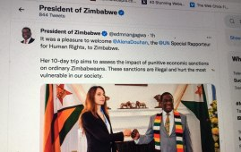 President Emmerson Mnangagwa held a meeting in Harare on Monday with UN Special Envoy, Elana Douhan. (Photo: Emmerson Mnangagwa/Twitter )