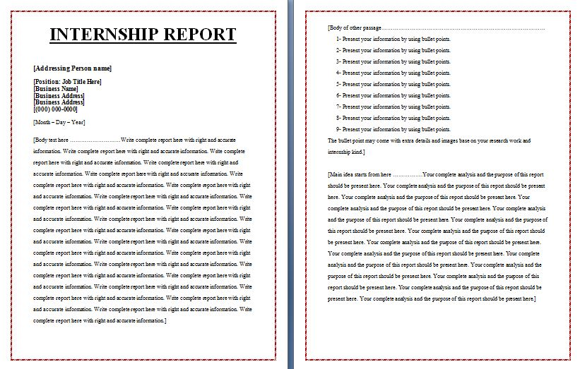 Internship Report Template  Download It Free