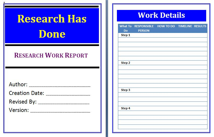 Research Work Report Template – Research Report Template