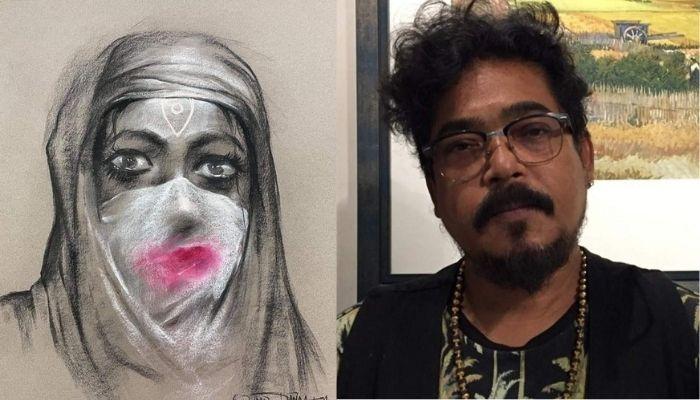Bengali artist Sanatan Dinda draws Goddess Durga's sketch sporting a hijab