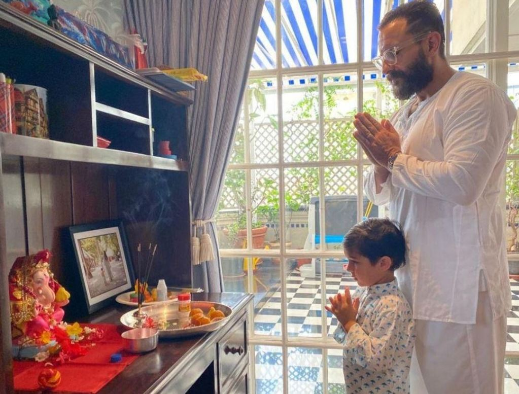 Taimur and Jehangir's father Saif gets trolled by Islamists for performing Ganesh Puja