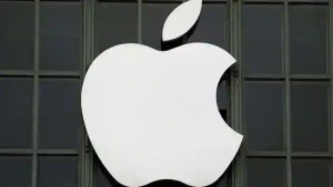 The Apple Inc logo is shown outside the company