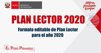 Plan Lector 2020, formato editable (WORD) – Referencial