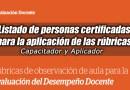 MINEDU: Listado de personas certificadas para la aplicación de las rúbricas, www.minedu.gob.pe