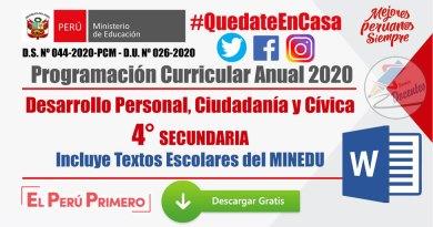 PROGRAMACIÓN CURRICULAR ANUAL 2020: Desarrollo Personal, Ciudadanía y Cívica 4° SECUNDARIA [WORD] – Incluye Textos Escolares del MINEDU [PDF]